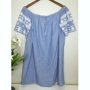 Old Navy Cotton Chambray Off The Shoulder Dress
